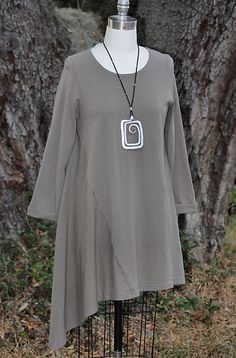 PACIFICOTTON Bryn Walker Pacific Cotton Sway Tunic Dress Lagenlook XL 1x Truffle | eBay