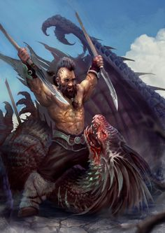Bat Georgi the barbarian Dragon Slayer, Miroslav Petrov on ArtStation at https://www.artstation.com/artwork/m018y