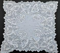 Vintage Shadow Work Daffodil Hanky.... Cotton Batiste