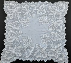 Vintage Shadow Work Daffodil Hanky.... Cotton Batiste