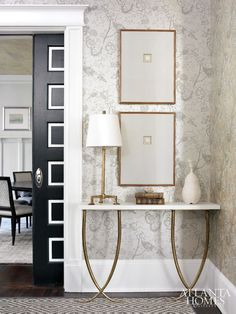 Gold Furniture, Furniture Hardware, Rooms Furniture, Luxury Furniture, Interior Design Atlanta, White Console Table, Gold Table, Console Tables, Foyer Decorating