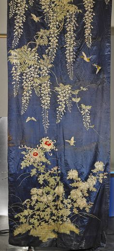 Pair Large Japanese Embroidered Silk Panels