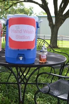 Hand wash station for petting zoo party