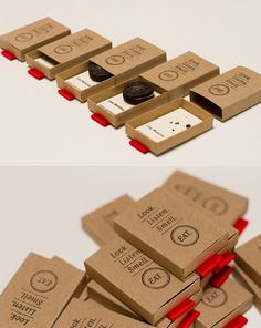 A set of matcbox style business cards designed for a webzine about food, and eating experience design