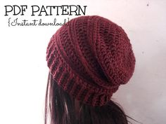 Slouchy hat CROCHET PATTERN, crochet slouchy beanie pattern, The Chocolate Slouchy hat, adult size, Pattern No. 63 on Etsy, $4.50
