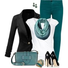 Turquoise Jeans and Black Blazer