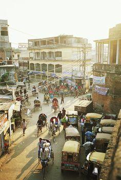 Rickshaw traffic in Dhaka, Bangladesh