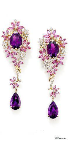Purple earrings: Ganjam's Le Jardin new jewellry collection Purple Jewelry, Amethyst Jewelry, I Love Jewelry, Jewelry Box, Jewelery, Vintage Jewelry, Jewelry Accessories, Fine Jewelry, Jewelry Design