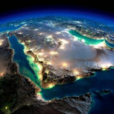 Earth illuminated by moonlight over Saudi Arabia. #WoW #CheckThisOut #AmazingView #Moonlight #GreatView #Wonderful