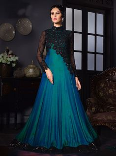 Teal Satin Silk Party Wear Gown 80629