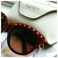 Valentino Rockstud Sunglasses NWT Authentic Valentino Rockstud blonde Havana sunglasses. These sexy shades are a burgundy color so in some light they appear almost red and in others a brown. Super chic and brand new Valentino Accessories Sunglasses