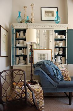 inside cabinets painted blue (Hickory Chair showroom at High Point Mkt. Living Room Decor, Living Spaces, Hickory Chair, Cabinet Decor, Cabinet Ideas, Luxury Interior Design, Interior Trim, Dresser As Nightstand, Painted Furniture