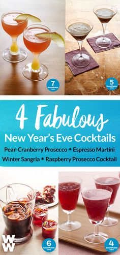 Cheers! Celebrate the New Year with delicious SmartPoint friendly cocktails: Espresso Martini, Pear Cranberry Prosecco, Winter Sangria & Raspberry Prosecco! Tap to get all 4 recipes.