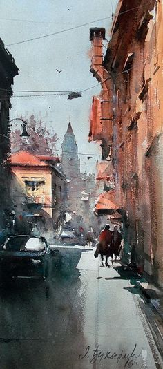 "Dusan Djukaric, ""View on Gardos"" 24x54cm, Watercolor on paper~amazing"