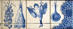"""Close-ups of right side of """"Michael's Azulejo"""" tile mural and garlic, Bacalhau or Portuguese dried, salted codfish and duck"""