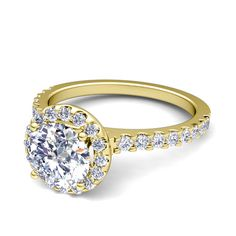 Petite Pave Diamond Engagement Ring in 18k White or Yellow Gold G, SI2, 0.86 cttw. This micropave set diamond engagement ring features pave diamonds set in 18k white gold band to embellish a halo set center diamond. Matching pave diamond wedding band is available as a bridal set.