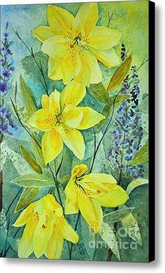 Yellow Lilies Canvas Print / Canvas Art By Terri Robertson