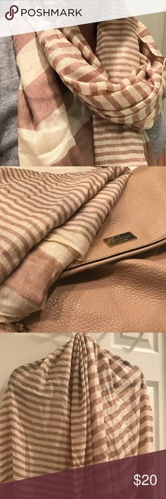 Dusty rose and creme, Striped Scarf Beautiful and lightweight dusty rose and creme striped scarf. Perfectly paired with many different outfits and colors. Take your outfit up a level with this scarf! Accessories Scarves & Wraps