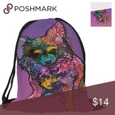 Longhair Chihuahua Drawstring Bag This very colorful drawstring bag features a picture of a Longhair Chihuahua on both sides. Bags