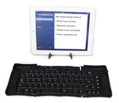 Amigo Folding Keyboard - Pocket size case unfolds to a keyboard - it's like something 007 would carry. Full size keyboard with 69 real keys for touch-typing. Tablet Stand, Phone Stand, Bluetooth Keyboard, Computer Keyboard, Chinese Model, Cool Tech, Ipad Tablet, Charging Cable, 15 Years