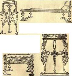 Ancient Roman Furniture sketches (table, stool, bed)