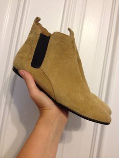 Vintage 80s tan suede Chelsea boots on Etsy, $26.00