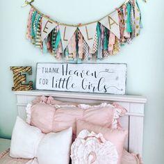Thank heaven for little girls sign, Little girls sign, Girl's nursery sign, Rustic Nursery sign, Nursery wall art, Baby shower gift - CoastalCraftyMama