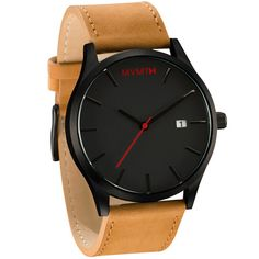 Men's black faced tan leather watch from MVMT. Black faced watch comes with three choices in straps. This tan leather version is a versatile watch, fitting in casual, formal and professional settings. Simple Watches, Cheap Watches, Casual Watches, Mens Sport Watches, Mens Watches Leather, Watches For Men, Big Watches, Wrist Watches, Luxury Watches