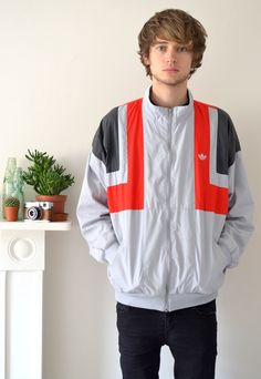 Vintage 90's Grey and Red Adidas Track Jacket | Ica Vintage | ASOS Marketplace