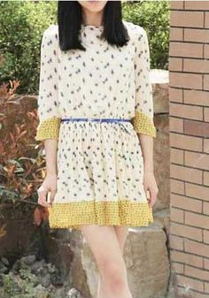 Fashionable Dazzle Mid-sleeve Pleated Dress Yellow