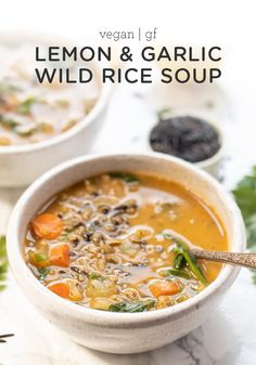 A flavorful WILD RICE SOUP that is packed lemon and garlic. It's nourishing, bri… A flavorful WILD RICE SOUP that is packed lemon and garlic. It's nourishing, bright and makes the perfect cozy winter meal. Healthy Soup Recipes, Whole Food Recipes, Vegetarian Recipes, Cooking Recipes, Dinner Recipes, Wild Rice Recipes, Cooking Bacon, Family Recipes, Cocktail Recipes
