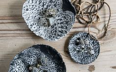 Imprinted Lace on clay bowls creates a beautiful jewellery holder!