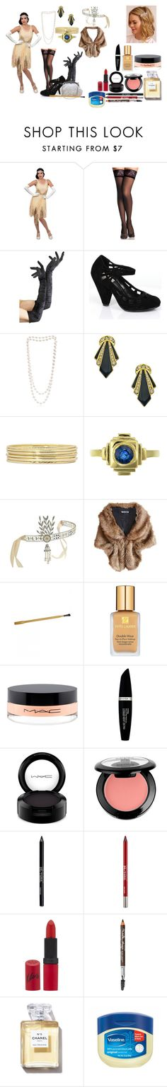 """Flapper Girl 1920's"" by wynonnamaree ❤ liked on Polyvore featuring Unique Vintage, Retrò, The Pearl Quarter, Yochi, Liz Claiborne, Zoe & Morgan, Gatsby, Whiting & Davis, Estée Lauder and MAC Cosmetics"