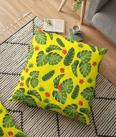 Tropical leaves floor pillow-Yellow pillow-Large floor