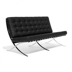 Mies van der Rohe Inspired Barcelona 2 Seater Sofa - Black