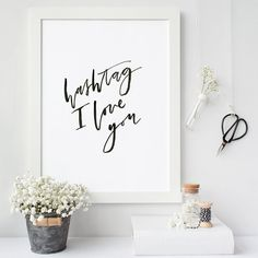 Hashtag I Love You Hand Lettering Typography by ThePaperMountainCo