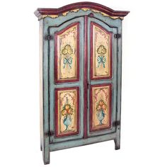 Painted French Cottage Armoire (19,610 CAD) ❤ liked on Polyvore featuring home, furniture, storage & shelves, armoires, cabinets, dresser, painted french country furniture, french country furniture, two door wardrobe and colorful furniture