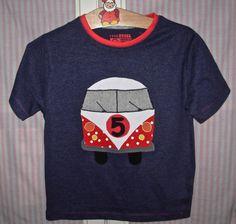 Süßes T-Shirt/Geburtstags-Shirt mit BULLI-Applikation, blau, Gr.110/5-6Jahre NEU