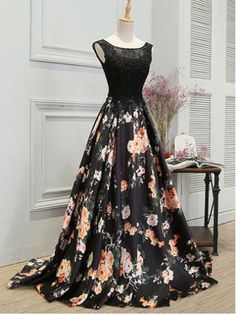 Sale Beautiful Lace Black Prom Dresses, New Arrival Black Lace A Line Fashion Cheap Prom Dresses 2018 Evening Gowns Party Dress Floral Prom Dresses, A Line Prom Dresses, Black Evening Dresses, Cheap Evening Dresses, Black Prom Dresses, Cheap Prom Dresses, Dress Black, Dress Prom, Dress Long