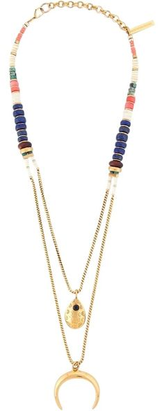 LIZZIE FORTUNATO JEWELS  'Midnight Ranch' necklace. Free shipping and guaranteed authenticity on LIZZIE FORTUNATO JEWELS  'Midnight Ranch' necklace at Tradesy. multi colored stone and gold plated brass and bone...
