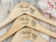 Beach Wedding Favor, Flip Flops, Beach Wedding Dress Hanger, Personalized Hanger on Etsy, $14.00