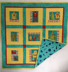 Little Robots Bassinet quilt, Bright and Cheerful