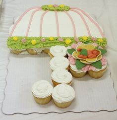 ... baby shower cake ever?? An umbrella cupcake cake for a baby