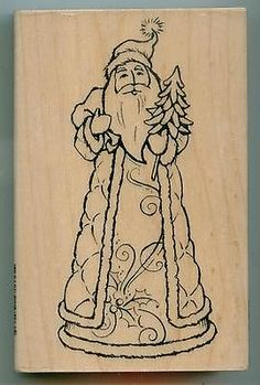 Stampendous Rubber Stamp Forest Santa Christmas