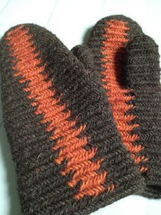 "Mittens nalbound with vertical zig zag stripes. ""In this technique you do your normal stitch, and the other coloured yarn is held on forefinger. That yarn is taken along last. There are no visible, extra yarn loops seen on reverse side, the yarn runs inside the stitch."" See web page for step-by-step instructions."