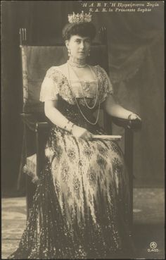 Princess Sophie of Prussia (1870-1932) was Queen of the Hellenes as the wife of King Constantine I.  She was a granddaughter of Queen Victoria and a younger sister of Kaiser Wilhelm II of Prussia.  Sophie and her husband were later deposed and exiled from Greece for their pro-German sentiments.