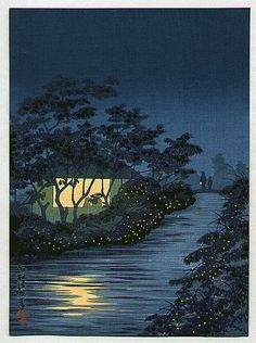 Fireflies and Lighted House by Kiyochika Kobayashi 1847-1915