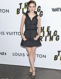 Glitzy: Emma looked chic in a glittery dress at the premiere, held at the Directors Guild Of America