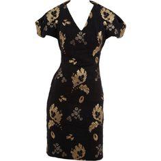 ALEXANDER MCQUEEN Short Sleeve V-Neck Brocade Dress ($3,387) ❤ liked on Polyvore