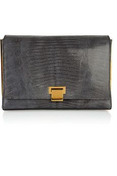 THE ROW  Metal frame lizard clutch